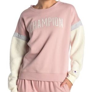 Champion Heritage pink faux shearling sweater s